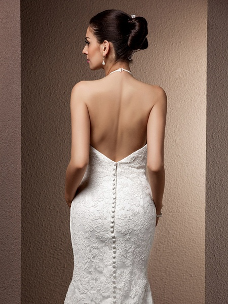Mermaid \ Trumpet Wedding Dresses Halter Neck Sweep \ Brush Train Lace Regular Straps Open Back_7