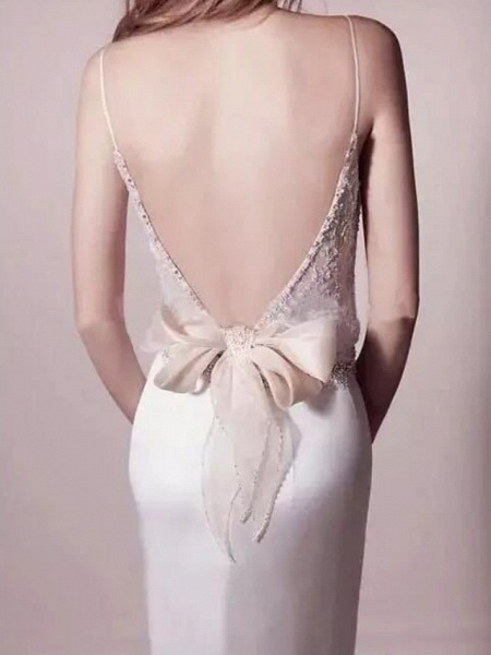 Mermaid \ Trumpet Wedding Dresses V Neck Sweep \ Brush Train Satin Spaghetti Strap Formal Simple Plus Size_2