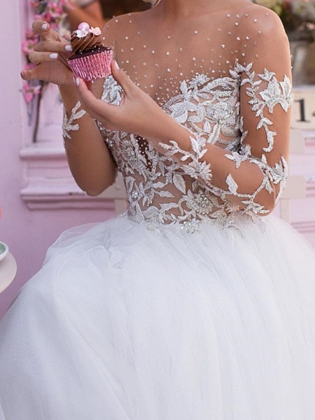 A-Line Jewel Neck Court Train Lace Tulle Long Sleeve Sexy Plus Size Wedding Dresses_2