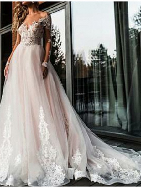 A-Line V Neck Court Train Tulle Long Sleeve Romantic Boho See-Through Illusion Sleeve Wedding Dresses_3