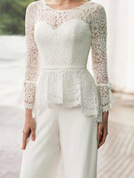 Two Piece Jumpsuits Wedding Dresses Jewel Neck Floor Length Lace Stretch Satin Long Sleeve Country Plus Size_3