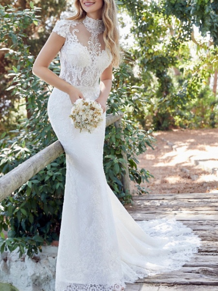Mermaid \ Trumpet Wedding Dresses High Neck Sweep \ Brush Train Lace Satin Short Sleeve Vintage Sexy Backless_1