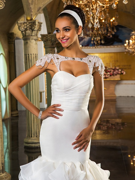 Mermaid \ Trumpet Wedding Dresses Sweetheart Neckline Sweep \ Brush Train Organza Tulle Cap Sleeve Formal Separate Bodies_9