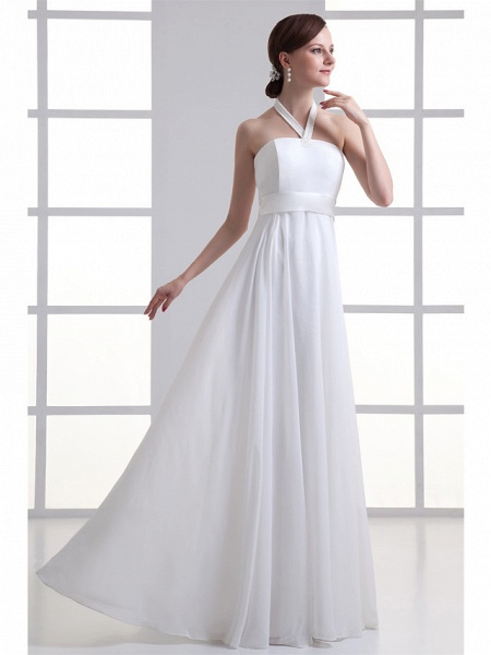 A-Line Wedding Dresses Halter Neck Floor Length Chiffon Satin Strapless_2