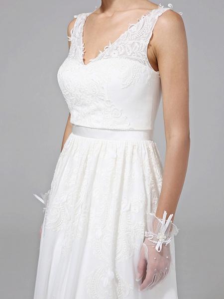 A-Line Wedding Dresses V Neck Floor Length Lace Regular Straps Simple Illusion Detail_9