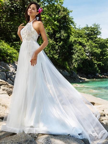 Princess A-Line Wedding Dresses Halter Neck Chapel Train Lace Organza Sleeveless Open Back_3