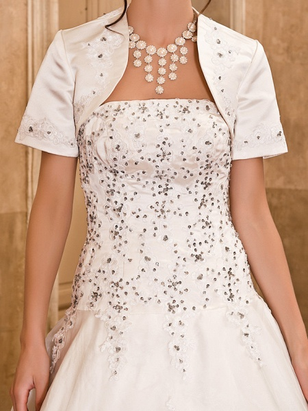 Ball Gown Wedding Dresses Strapless Floor Length Satin Short Sleeve Sparkle & Shine_5