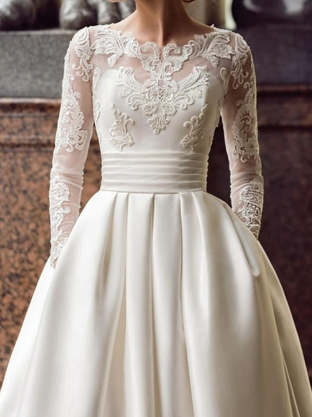 Ball Gown Wedding Dresses Jewel Neck Sweep \ Brush Train Lace Satin Long Sleeve Romantic See-Through_1