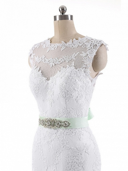 Mermaid \ Trumpet Wedding Dresses Jewel Neck Court Train Lace Tulle Cap Sleeve_9