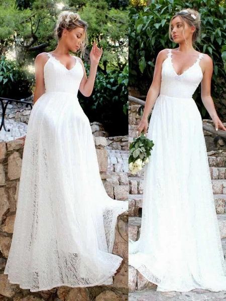 Elegant Boho Women Ivory Long V Neck Lace Slim Sexy Bride Dress