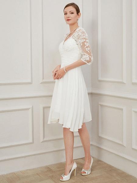 A-Line Wedding Dresses V Neck Knee Length Chiffon Lace Half Sleeve Formal Plus Size Illusion Sleeve_2