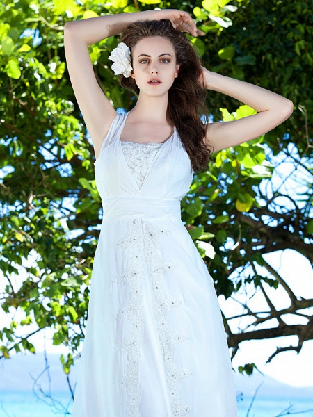 Sheath \ Column Wedding Dresses Straps Sweep \ Brush Train Chiffon Sleeveless_5