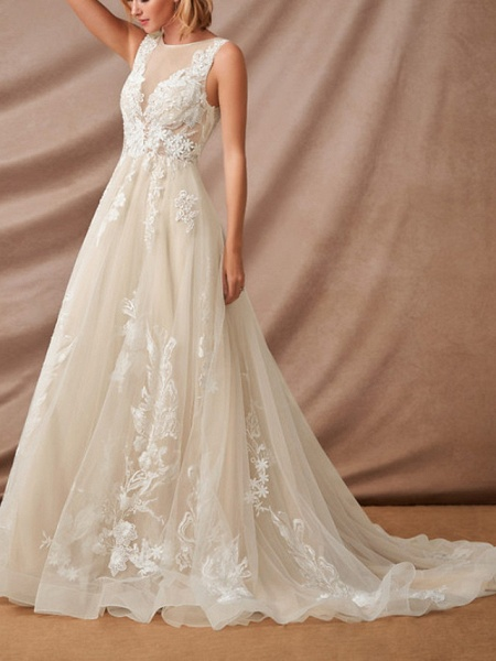 Mermaid \ Trumpet Jewel Neck Chapel Train Lace Sleeveless Formal Wedding Dresses_5