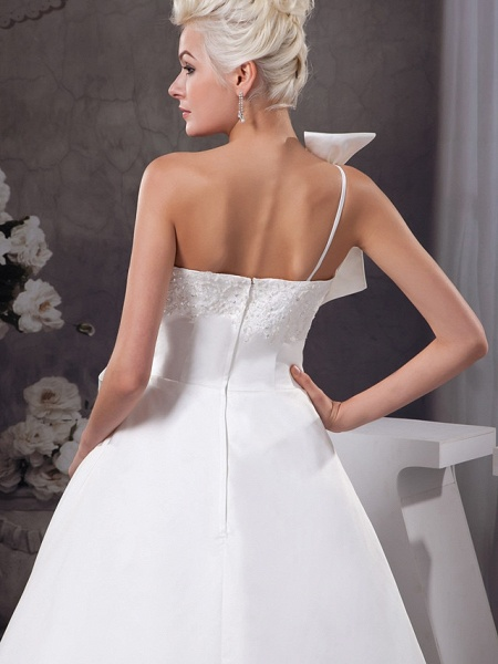 A-Line One Shoulder Court Train Lace Organza Satin Spaghetti Strap Wedding Dresses_5