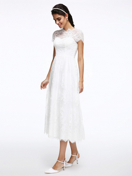 A-Line Wedding Dresses Jewel Neck Tea Length Lace Short Sleeve Simple Casual Illusion Detail Backless_5