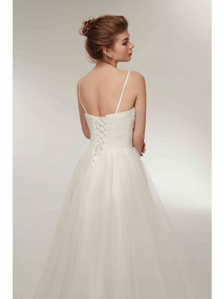 A-Line Wedding Dresses V Neck Asymmetrical Tulle Spaghetti Strap Simple Casual Little White Dress_8
