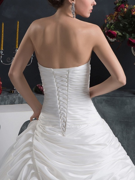Ball Gown Strapless Court Train Organza Taffeta Strapless Wedding Dresses_5