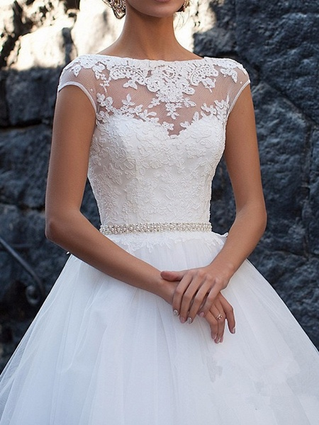 A-Line Wedding Dresses Bateau Neck Sweep \ Brush Train Lace Cap Sleeve Glamorous Vintage Illusion Detail Backless_2