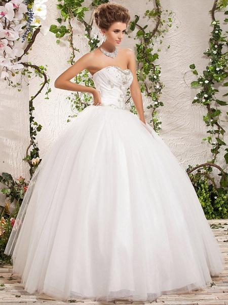 Ball Gown Strapless Sweetheart Neckline Floor Length Tulle Sleeveless Sparkle & Shine Wedding Dresses_2