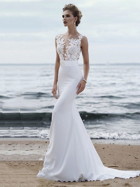 Mermaid \ Trumpet Wedding Dresses Jewel Neck Chapel Train Chiffon Lace Regular Straps Mordern See-Through_1