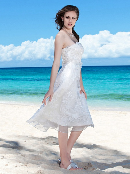 Sheath \ Column Wedding Dresses Strapless Tea Length Organza Sleeveless Little White Dress_2