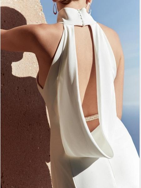 Sheath \ Column Wedding Dresses High Neck Floor Length Satin Sleeveless Beach Plus Size_3