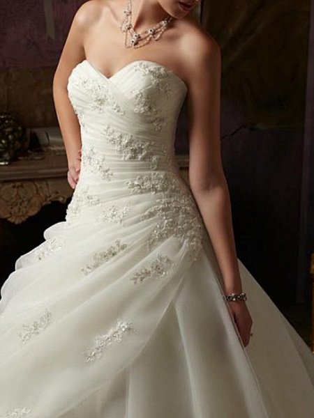 Ball Gown A-Line Wedding Dresses Strapless Sweep \ Brush Train Tulle Chiffon Over Satin Sleeveless Formal_2
