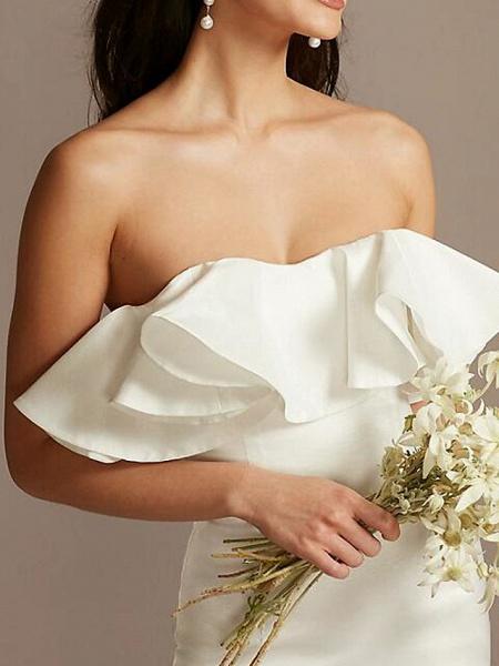 Sheath \ Column Wedding Dresses Strapless Short \ Mini Satin Sleeveless Country Plus Size_3