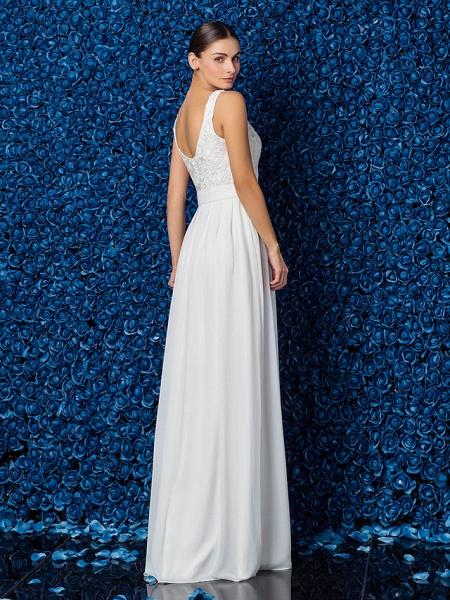 Sheath \ Column Elegant Prom Formal Evening Dress Illusion Neck Sleeveless Floor Length Chiffon Lace_5