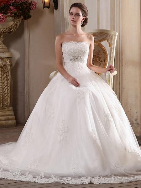 Princess A-Line Strapless Scalloped-Edge Chapel Train Satin Tulle Sleeveless Wedding Dresses_4