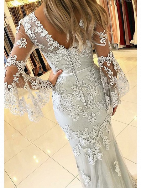 Mermaid \ Trumpet V Neck Sweep \ Brush Train Lace Tulle 3\4 Length Sleeve Sexy See-Through Illusion Sleeve Wedding Dresses_2