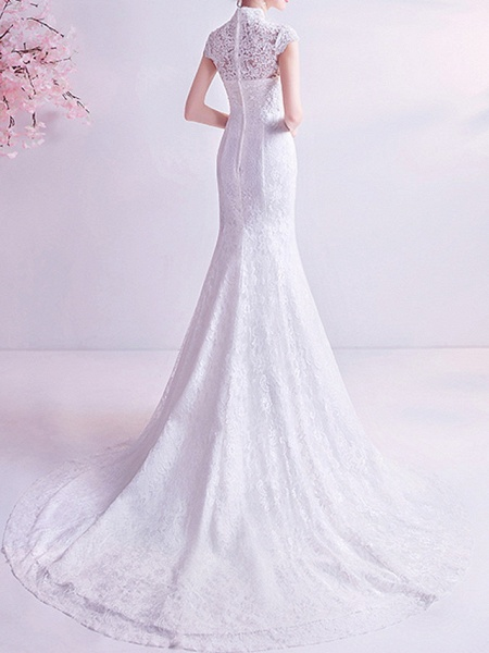 Mermaid \ Trumpet Wedding Dresses High Neck Court Train Chiffon Tulle Cap Sleeve Formal Illusion Detail Plus Size_4