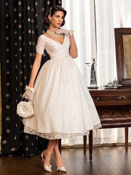 A-Line Wedding Dresses V Neck Tea Length Taffeta Short Sleeve Vintage Little White Dress 1950s_2