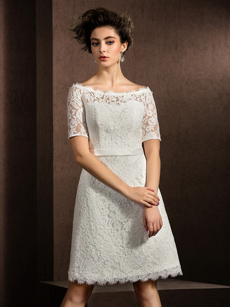 A-Line Wedding Dresses Bateau Neck Knee Length Lace Half Sleeve Formal Casual Little White Dress Illusion Sleeve_3