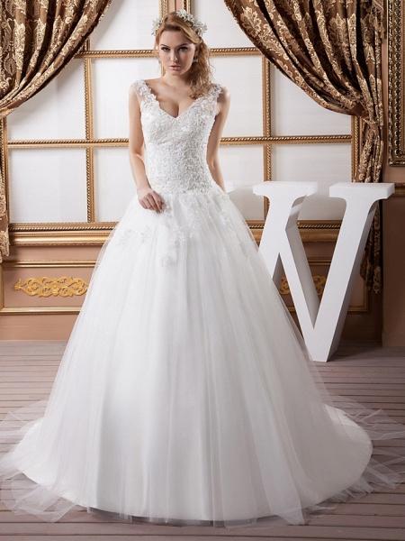 A-Line V Neck Court Train Lace Satin Tulle Spaghetti Strap Wedding Dresses_1