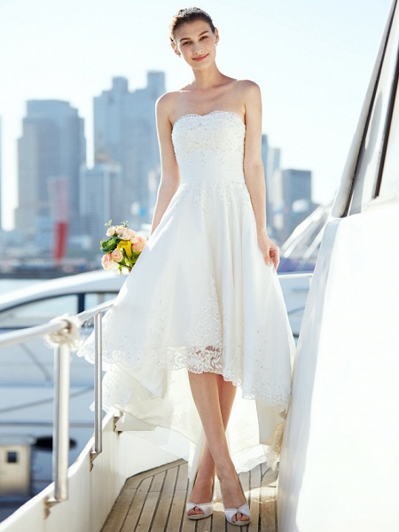 A-Line Wedding Dresses Strapless Asymmetrical Tulle Strapless Casual Beach Little White Dress Backless_4
