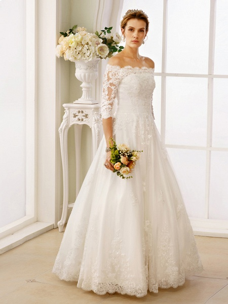 A-Line Off Shoulder Floor Length Lace Tulle Lace Over Tulle 3\4 Length Sleeve Floral Lace Illusion Sleeve Wedding Dresses_3
