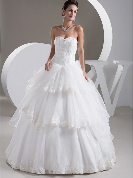 Ball Gown Sweetheart Neckline Floor Length Lace Organza Satin Strapless Wedding Dresses_1
