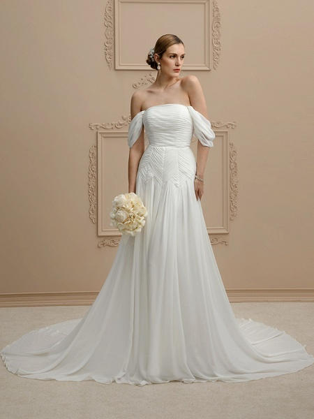 Princess A-Line Wedding Dresses Strapless Cathedral Train Chiffon Sleeveless Open Back_1