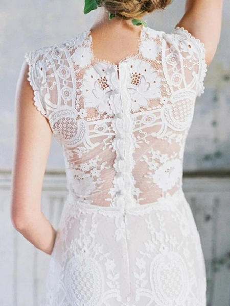 Mermaid \ Trumpet Wedding Dresses Jewel Neck Sweep \ Brush Train Lace Cap Sleeve Country_5