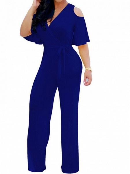Women's Wide Leg Cut Out Party Off Shoulder Black Wine Royal Blue Wide Leg Jumpsuit_4
