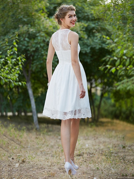 A-Line Wedding Dresses Jewel Neck Knee Length Lace Sleeveless Little White Dress_2