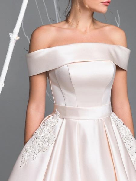 A-Line Wedding Dresses Off Shoulder Court Train Satin Short Sleeve Simple Plus Size Elegant_3