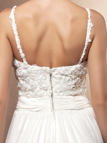 A-Line Wedding Dresses Scoop Neck Sweep \ Brush Train Chiffon Spaghetti Strap Formal_6
