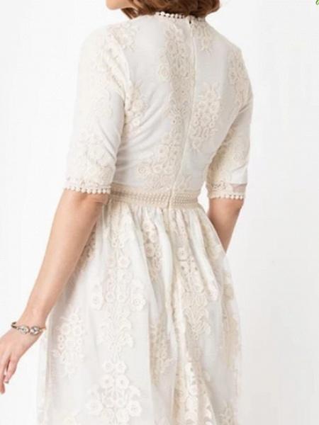 A-Line Wedding Dresses Jewel Neck Knee Length Chiffon Tulle Half Sleeve_2