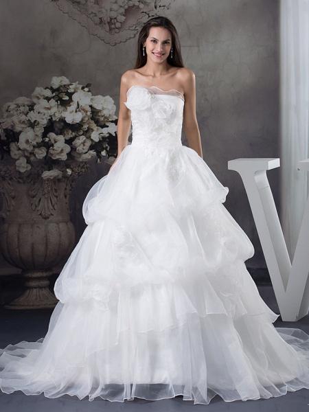 A-Line Strapless Chapel Train Organza Satin Strapless Wedding Dresses_1