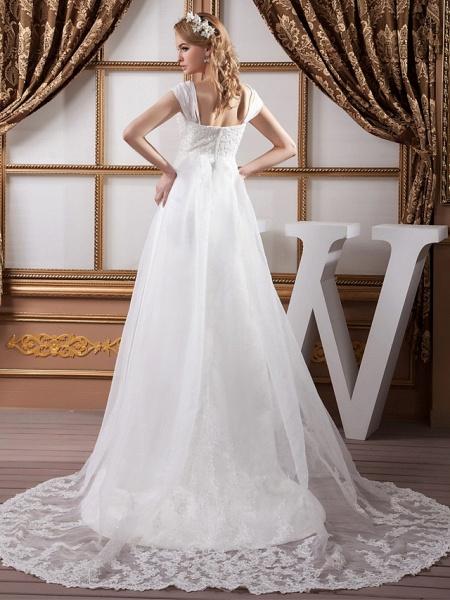 A-Line Square Neck Court Train Lace Organza Satin Cap Sleeve Formal Vintage Illusion Detail Plus Size Wedding Dresses_3