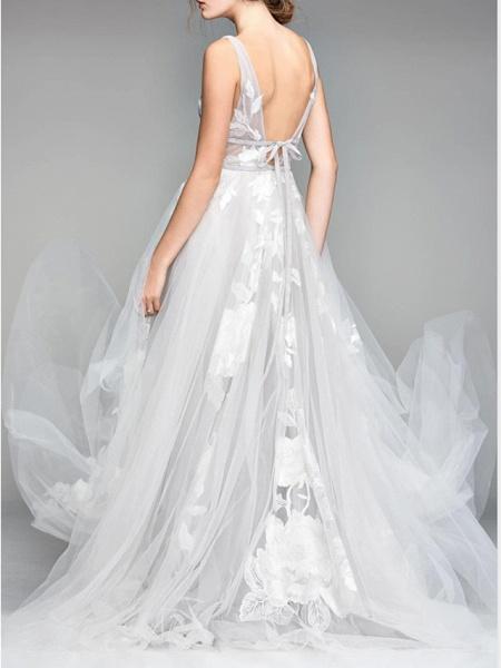 A-Line Wedding Dresses V Neck Floor Length Tulle Sleeveless Casual Plus Size_2