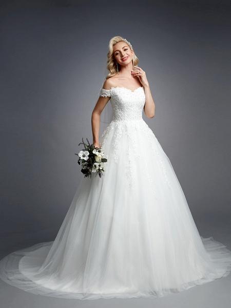 Ball Gown Wedding Dresses Off Shoulder Court Train Lace Tulle Short Sleeve Romantic Sparkle & Shine_6