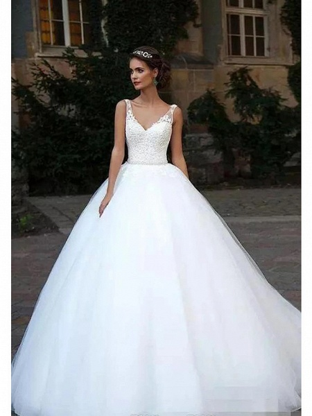 Ball Gown Wedding Dresses V Neck Court Train Lace Tulle Spaghetti Strap Country Illusion Detail Backless_4